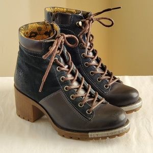 Fly London Logger Leal 689 Boots Blue sz 38(7.5)